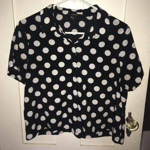 Forever 21 Polka Dot Button Down Blouse